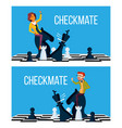 checkmate concept business man and woman vector image