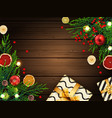 christmas background with fir tree branches vector image vector image