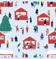 christmas street fair flat seamless pattern vector image vector image