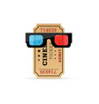 cinema ticket with 3d movie glasses vector image vector image