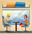 couple tourists traveling by train together vector image