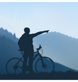 Cyclist in the mountains vector image vector image