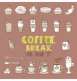 doodle set Hand drawn coffee elements Coffee break vector image vector image