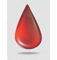 drop of red blood on transparent background vector image vector image