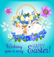 easter paschal card eggs and bunny greeting vector image vector image
