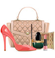 fashion handbag with makeup cosmetics vector image vector image