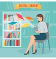 flat concept electronic library vector image vector image