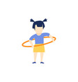 flat girl kid doing hula hoop exercise vector image vector image