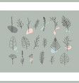 floral flat leaves set grey vector image vector image
