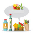 food flat design items set vector image vector image