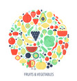 fruits vegetables flat infographics icons in vector image vector image