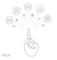hand keeps mobile with set line icons vector image vector image