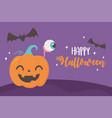 happy halloween funny pumpkin spooky eye and bats vector image vector image