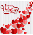 happy valentines day with red heart on wood vector image vector image