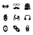 hipster aspect icons set simple style vector image vector image