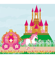 horse carriage and a medieval castle vector image vector image