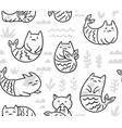 ink seamless pattern with cute cats mermaids vector image
