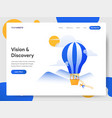 landing page template vision and discovery vector image