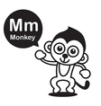 M Monkey cartoon and alphabet for children to vector image