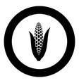 maize icon black color in circle round vector image