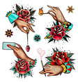 old school tattoo roses and hands set vector image vector image