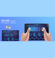 online survey checklist hand holds tablet vector image