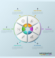 paper white pie chart consisted 6 parts vector image vector image