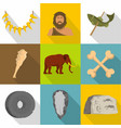 prehistoric way icons set flat style vector image vector image