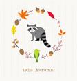 raccoon with autumn frame card vector image