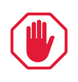 Rad hand blocking sign stop vector image vector image