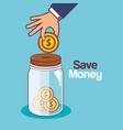 save money jar icon vector image