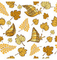 seamless pattern with golden grape snails and vector image