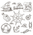 ship and lifebuoy sea or marine symbols sketches vector image vector image