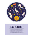 space exploration objects symbols design vector image