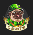 st patrick s day pug wears a green bow vector image vector image