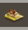 suburban poor family house with porch vector image vector image