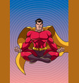 superhero meditating with background vector image vector image