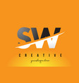 sw s w letter modern logo design with yellow vector image vector image