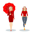 two girls in red one with an umbrella another vector image vector image