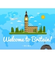 Welcome to Britain poster with famous attraction vector image vector image