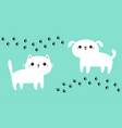 white cat kitten kitty dog puppy icon set paw vector image vector image