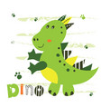 with cute little dinosaur vector image
