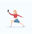woman taking selfie photo on smartphone camera vector image vector image