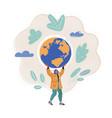 woman who hold earth globe vector image vector image