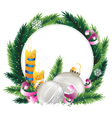 Wreath with burning candles and Christmas vector image