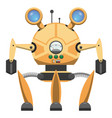yellow metallic robot with three legs drawn icon vector image vector image