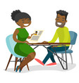 young african people talking on business meeting vector image vector image