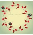 Christmas wreath with birds vector image