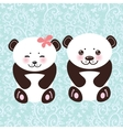 girl and boy Kawaii funny panda white muzzle with vector image