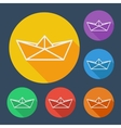 Paper ship flat icons set with long shadow vector image